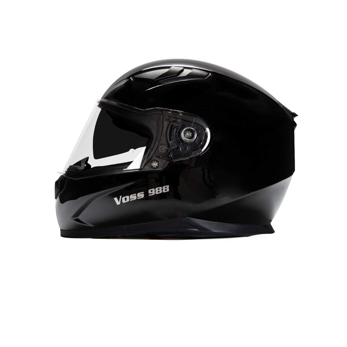 Voss 988 Moto-1 Street Full Face Helmet with Drop Down Internal Sun Lens - L - Solid Gloss Black