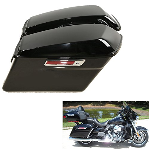 Motorcycle Hard Bags - TCMT Motorcycles Black Hard Saddlebags + Latch Key Lid Fits For Harley Street Road Glide Road King Electra Glide Ultra-Classic FLHR FLHX 2014-2019