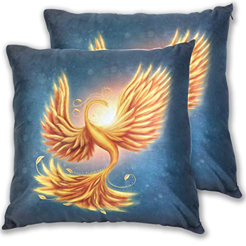 for Bed Gold Phoenix Double Sided Cotton Velvet Square Pillow Slipcovers 20x20 Inch Decorative Pillows for Bedroom,Set of 2 ()