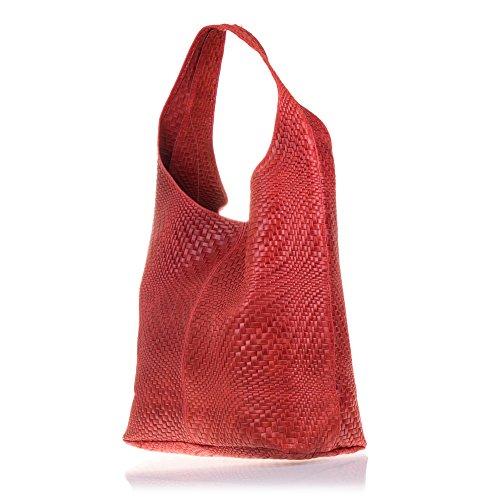 bolso Cm Artegiani Rojo Firenze Cuero Lacado Vera Y Granate Bag Mujer Auténtica Italiana Pelle De Color Motivo Shopping Made 5x19 Genuino In 36x34 bolso Trenzado Grabado Piel Gamuza Italy 4qqdnz5a