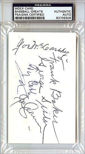 Ty Cobb Frank Homerun Baker Joe McCarthy George Sisler Joe Cronin and Pete Peterson Signed 3x5 Index Card - PSA/DNA Authentication - Autographed MLB Baseball Cut Signatures
