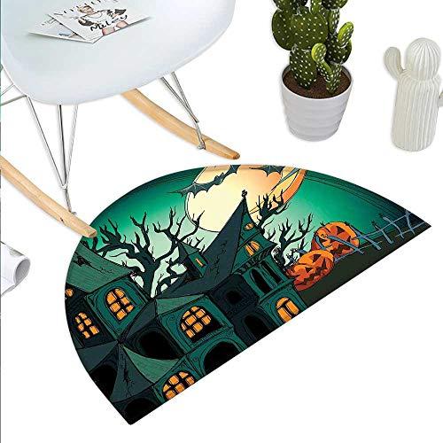 Anniutwo Halloween Half Round Door mat Haunted Medieval Cartoon Style Bats in Twilight Gothic Fiction Spooky Art Print Half Round Indoor Door mat Orange Teal ()
