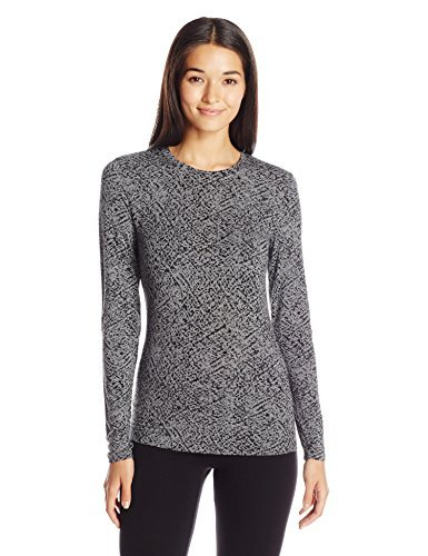 Cuddl Duds Women's Softwear with Stretch Long Sleeve Crew Neck Top, Grey Print, Large ()