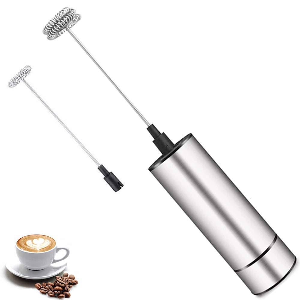 Milk Frother Handheld Battery Operated, Foam Maker, Matcha Whisk, Electric Wand Drink Mixer, Coffee Frother with Stainless Steel Whisk