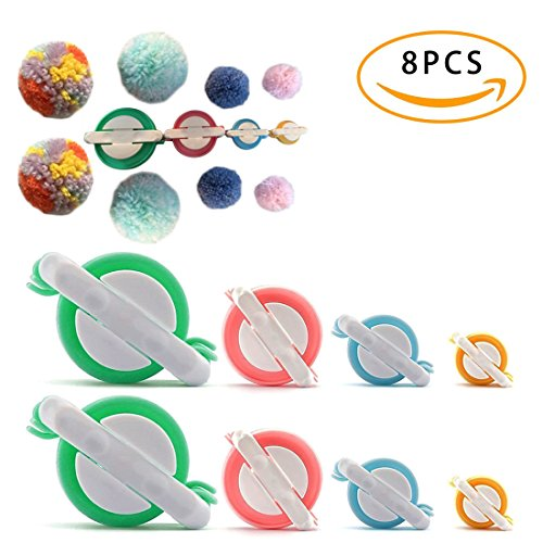 STSTECH Pompom Maker for Fluff Ball on Hats Gift Box Father's Day,Plush Toy Decoration, Pom Pom Knitting Loom Kit for DIY Wool Yarn Crochet Craft Tool 4 Sizes,Set of (Small Pom Pom Maker)