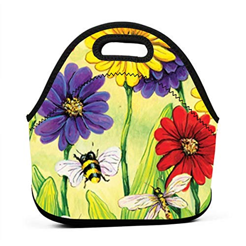 Sunmoonet Zinnia Flight Lunch Bag Food Storage Carrying Case School Office Work Lunch Tote Bag Picnic Food - Flight Zinnia
