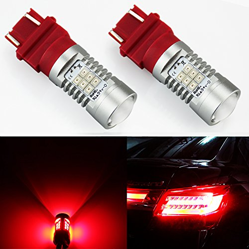 JDM ASTAR 1260 Lumens Extremely Bright PX Chipsets 3056 3156 3057 3157 LED Bulb For Brake Light Tail lights Turn Signal, Brilliant Red (Car Tail Brake)