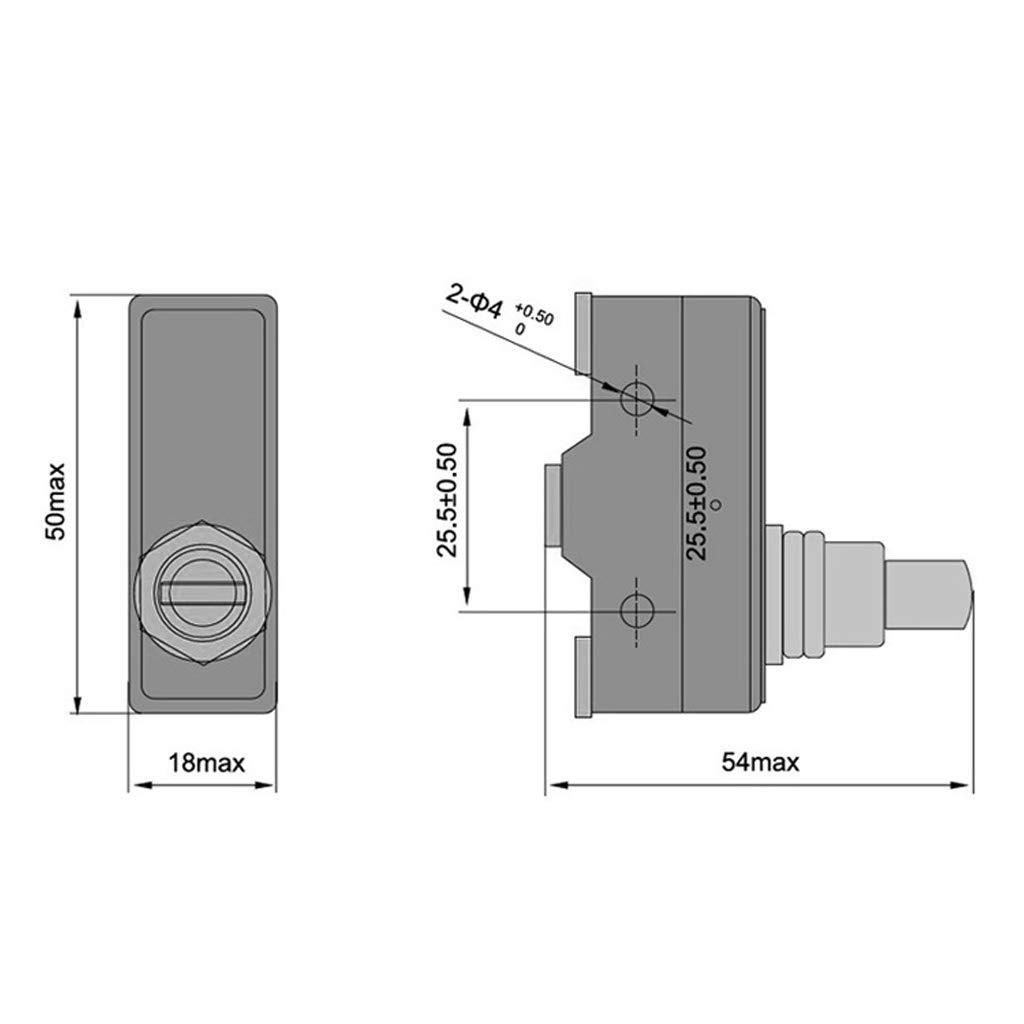 Junlinto LXW5-11M Terminales de 3 Tornillos Interruptor de l/ímite de /émbolo de Rodillo de Montaje en Panel 15A 380V KL