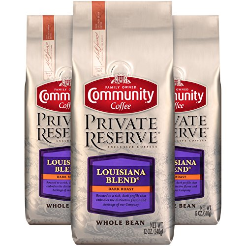 Community Coffee Louisiana Blend Dark Roast Gourmet Private Reserve Whole Bean 12 Oz Bag (3 Pack), Full Body Rich Bold Taste, 100% Specialty Grade Arabica Coffee ()