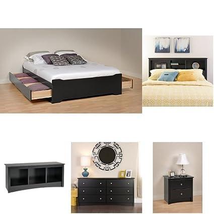 Amazon.com: Prepac Sonoma 5-piece Queen Bedroom Set - Black ...
