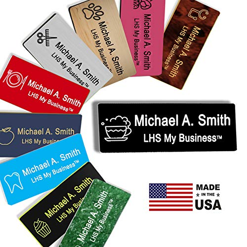 - LHS My Business | Name Badges Magnetic Backs - Custom Engraved Black Plastic Nametag with White Lettering Personalized in The USA - B2