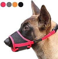 RAINDEE Dog Muzzle Nylon Soft Muzzle Anti-Biting Barking Secure,Mesh Breathable Pets Muzzle for Small Medium Large Dogs 4...