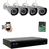 GW 4 Channel 1MP 720P Network Wireless CCTV Security Camera System (NVR Kit) - 2 x HD 720P Video Surveillance Indoor IR Wireless IP Cameras Built-In Microphone, 50FT IR Night Vision