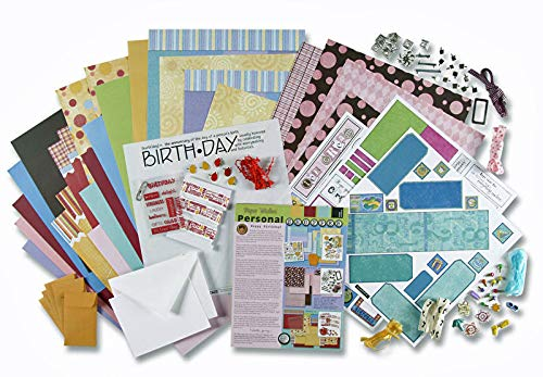 Chipboard Kit - Paper Wishes - Dots, Stripes & Birthday Card Making & Scrapbooking Kit | 205 Pieces | 30 Printed Papers & cardstock, chipboard Letters & Numbers, Ribbons, Clips, brads, Metal Frame, Pinwheel and More