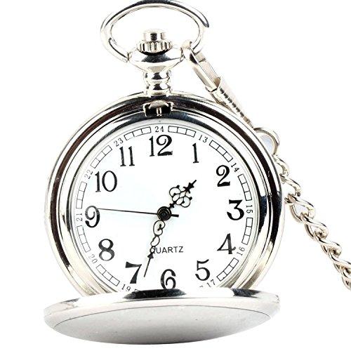 XLORDX Taschenuhr Herren Unisex Quarz Uhr mit Halskette Kette uhr Pocket Watch Geschenk Silber