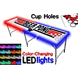 8-Foot Beer Pong Table w/ OPTIONAL Cup Holes & LED Color-Changing Glow Lights - 4 Table Designs Available