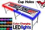 8-Foot Professional Beer Pong Table w/ Cup Holes & LED Glow Lights - Top Pong Edition