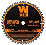 WEN BL1248 12-Inch 48-Tooth Carbide-Tipped Professional Woodworking Saw Blade for Miter Saws and Table Saws