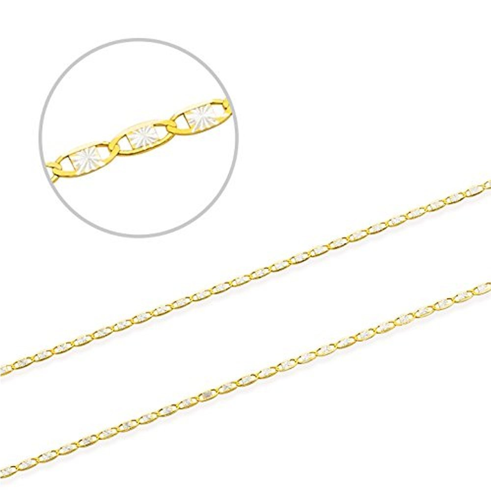 Jewel Connection Two-Tone 14K Valentino Chain Yellow Gold, and White Gold Diamond Cut (24)
