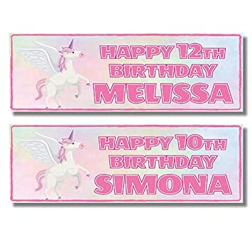 Unicorn 11th Birthday Banner x 2 Personalised ANY NAME Party Decorations