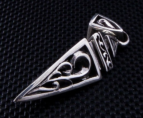 Tribal Rocker Spike Pyramid 925 Sterling Silver Mens Pendant