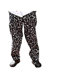 Black and red Chili or kitchenware Printed Chef Pant 100% Cotton