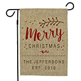 Cheap GiftsForYouNow Merry Christmas Personalized Burlap Garden Flag, 18″ H x 12″ W, 100% All-Weather Polyester