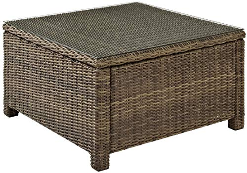 Crosley Furniture Bradenton Outdoor Wicker Sectional Coffee Table with Glass Top - Weathered ()