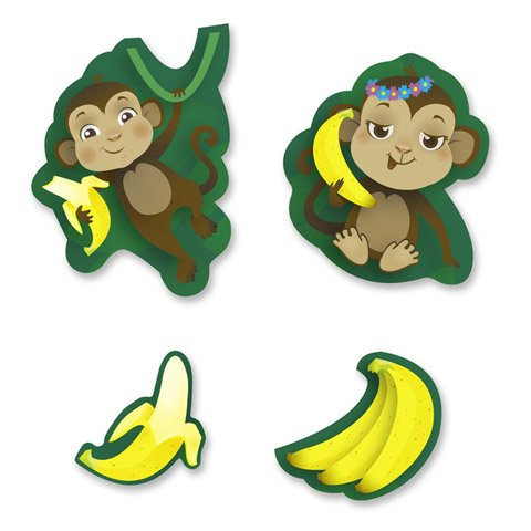 Busy Kids Learning Smelly Stickers - Monkeys - Banana Scent - 84 pieces