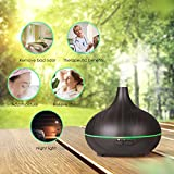 VicTsing Essential Oil Diffuser, 150ml Mini Aroma Wood Grain Cool Mist Humidifier for Office Home Study Yoga Spa Baby, Auto Shut-Off and 14 Color Night Lights (Dark Brown) Variant Image