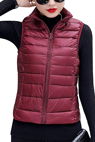 YMING Women's Lighweight Stand Collar Zip Up Front Quilted Padded Vest Wine Red L
