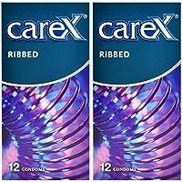 Carex Condoms Ribbed 24 Count, Set of 2 - PHI079M