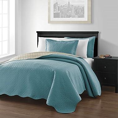 Chezmoi Collection Mesa 3-piece Oversized (100 x106 ) Reversible Bedspread Coverlet Set Queen, Blue/Khaki