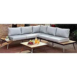 Furniture of America Eryna Patio Sectional in Brushed Champagne