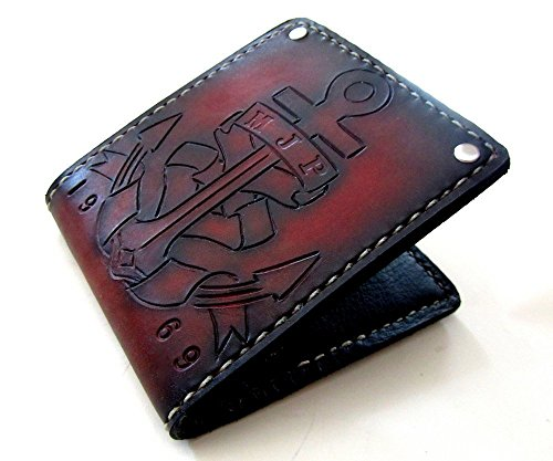 Men's Personalized Leather Anchor Bifold Wallet by San Filippo Leather