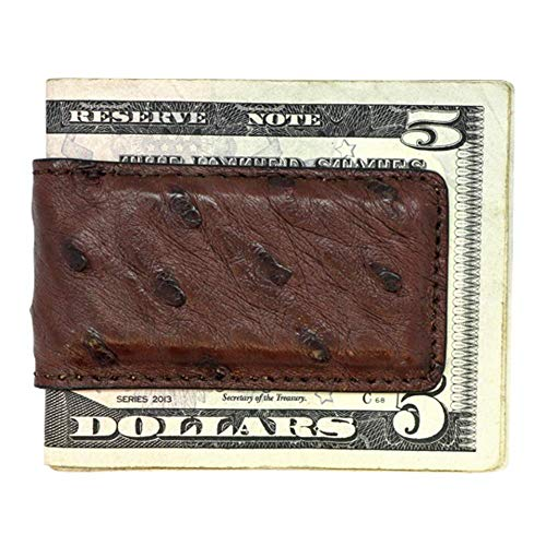 Brown Genuine Ostrich Magnetic Money Clip - American Factory Direct - Strong Shielded Magnets - Money Holder - Money Holder - Made in USA by Real Leather Creations FBA506