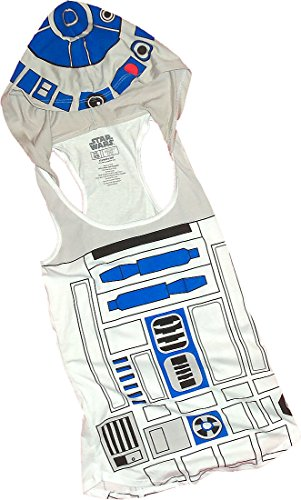 R2-D2 Costume -- Star Wars Fitted Juniors Hooded Tank-Top Shirt, Large