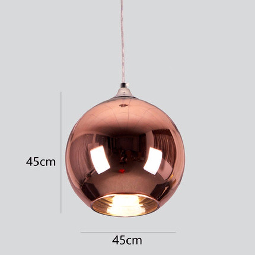 Simple Plated Glass Spherical Chandelier Single Head Office Cafe Restaurant Bar Bar Shop Christmas Ball, Bronze Diameter 45cm by Baron W.H (Image #1)