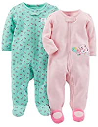 Simple Joys by Carter's baby-girls 2-Pack Cotton Footed Sleep and Play Sleepers