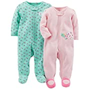Simple Joys by Carter's Baby Girls' 2-Pack Cotton Footed Sleep and Play, Pink Turtle/Mint Floral, Newborn