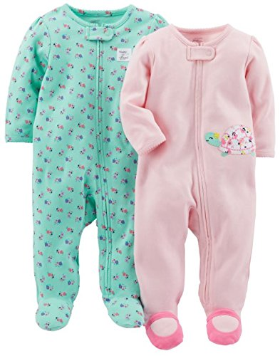 (Simple Joys by Carter's Baby Girls' 2-Pack Cotton Footed Sleep and Play, Pink Turtle/Mint Floral, 0-3 Month)