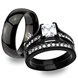 Stainless Steel Black Ion Plated His & Hers 3pc Wedding Engagement Ring Band Set Women's Size 08 Men's 08mm Size 12