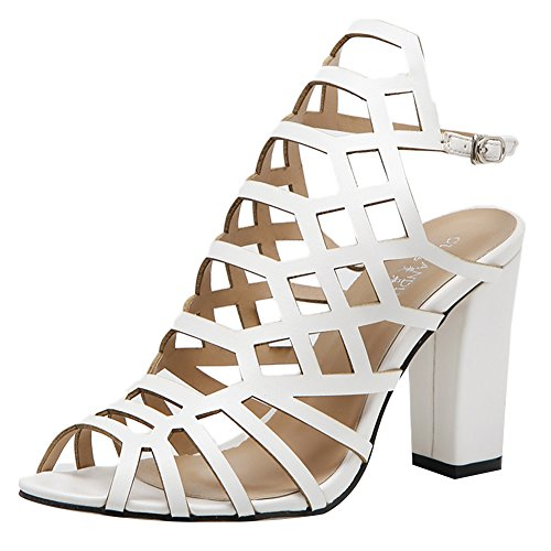 Roman Style Hollow out Women Heels Heeled Sandals(Black) - 7