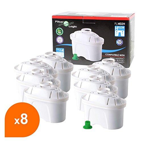 FilterLogic FL402H - 8er Pack Filterkartuschen für Tischwasserfilter - kompatibel mit Brita ® Maxtra ® für Bosch, Siemens, Tassimo TAS40, TAS45, TAS55, TAS65, TAS85, T45, T65 u.a. / BWT Filterkannen / Bosch Filtrino Heißwasserspender - 463675 - 00463675
