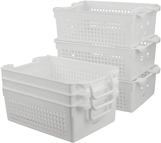 Dynko Cesta de Almacenamiento Apilable, Cesta Multiusos de Plástico, Blanco, Paquete de 6: Amazon.es: Hogar