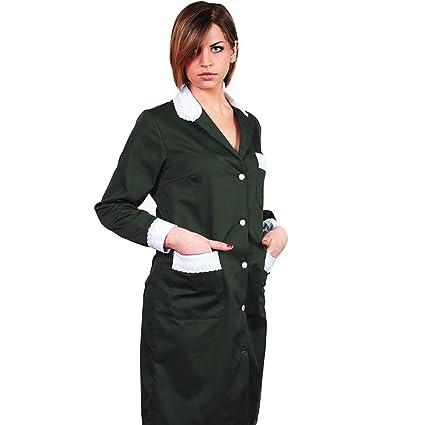Bata de trabajo para mujer, ideal para camarera / asistente de limpieza / empleada de hogar, de algodón: Amazon.es: Ropa y accesorios