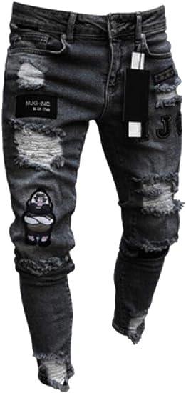 Qiangjinjiu メンズレギュラーフィットファッションスキニーフィート苦痛リッピングジーンズほつれ破壊デニムパンツ