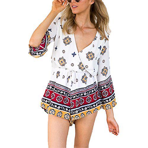 Women Summer Rompers Jumpsuits 3/4 Sleeve Casual Beach Short Overalls Vintage Playsuits Plus Size