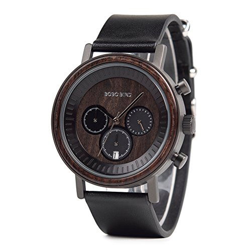Mens Womens Wooden Watches Luxury Wood Watches Genuine Leather Band Wood Chronograph Date Wrist Watches (Chronograph Leather Genuine)
