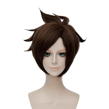 Anime Cosplay peluca marrón 30 cm capas peluca Halloween ...